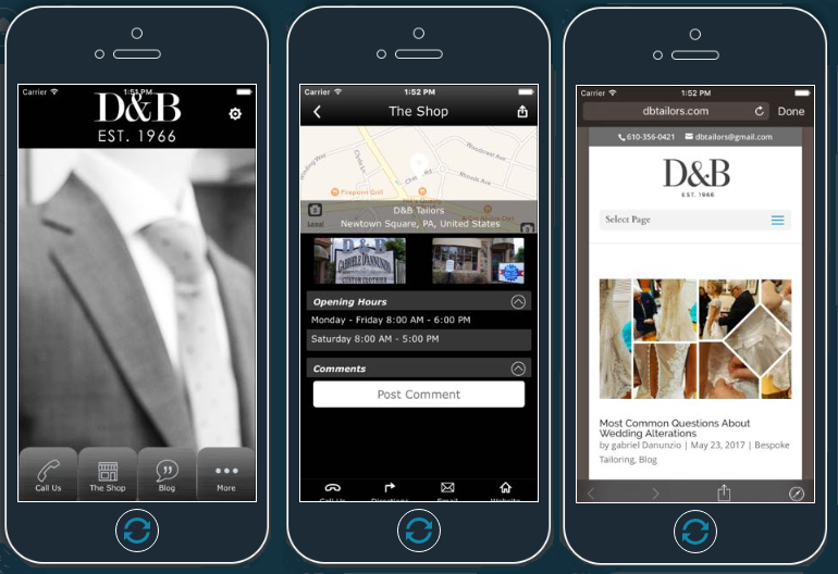 DB Tailors Mobile App developed by Advertising Is Simple Delaware