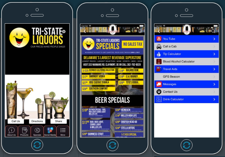 TriState Liquors Mobile App developed by Advertising Is Simple Delaware