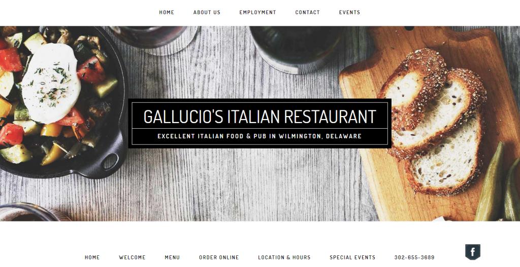 Gallucio's Restaurant Website Design