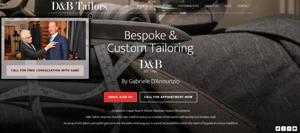 D&B Tailors Website Design