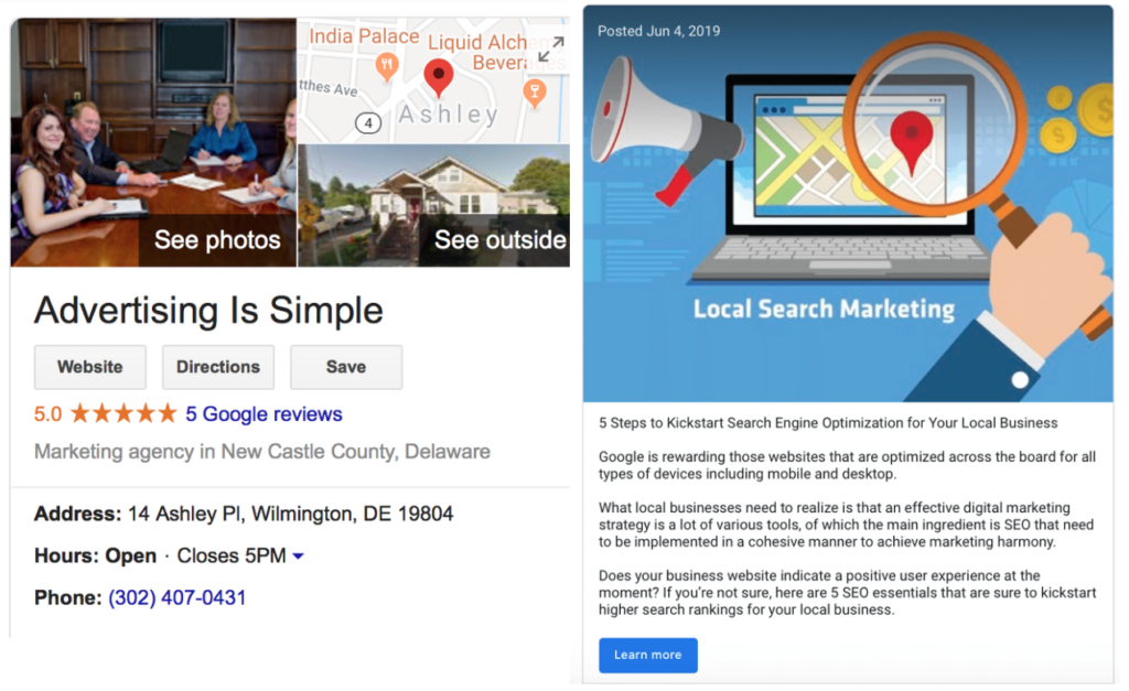 Google My Business page listing