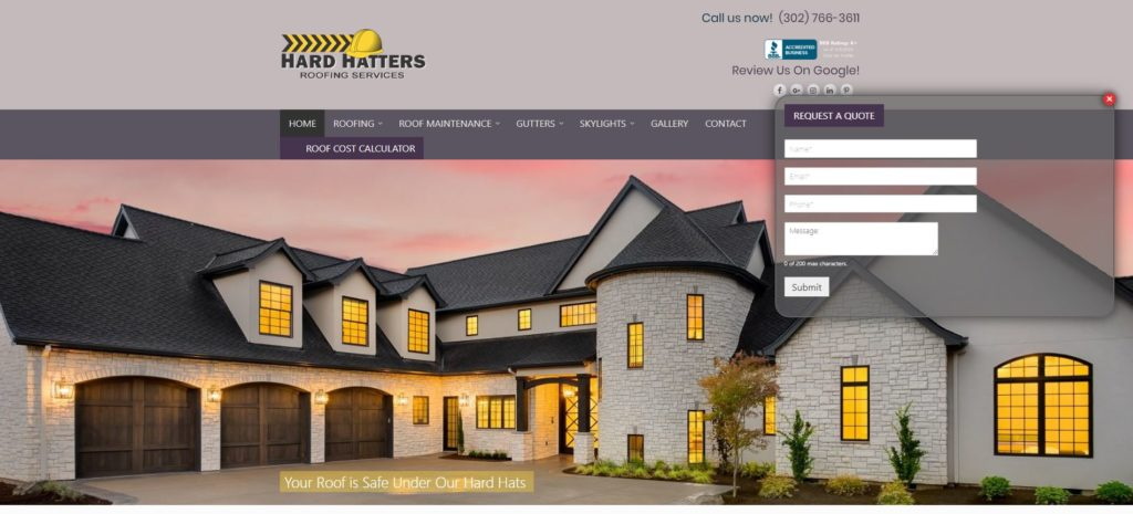 hard hatters roofing website design