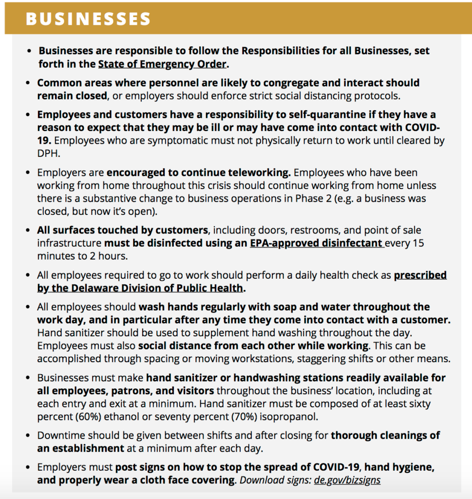 Phase 2 Delaware business guidelines
