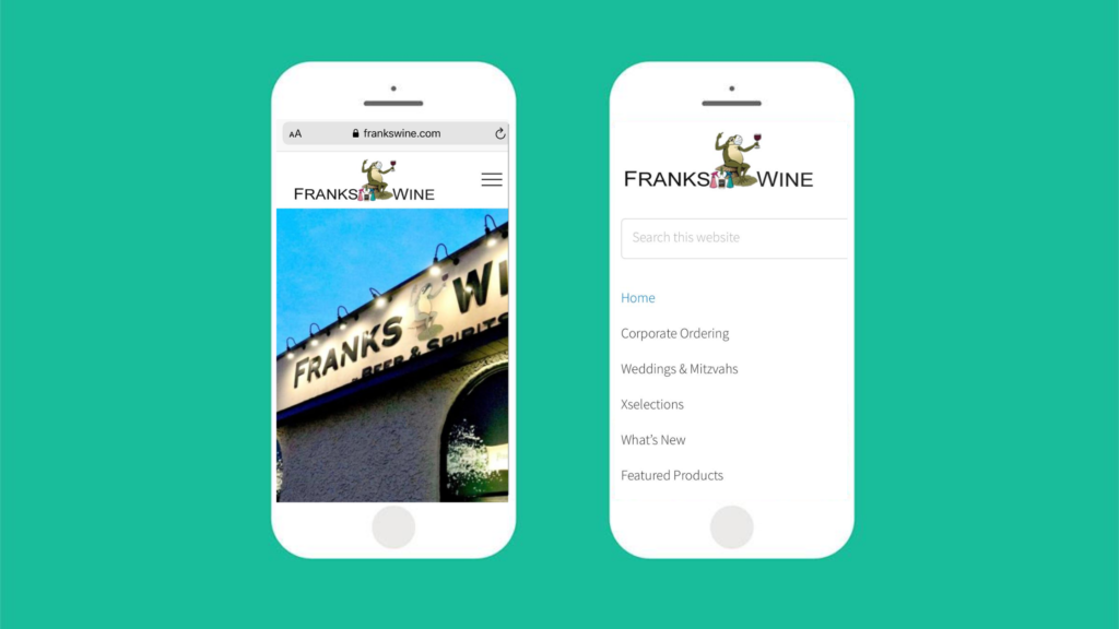 Franks Wine mobile friendly website